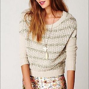 Free People Slubby Striped Knit Open Back Sweater
